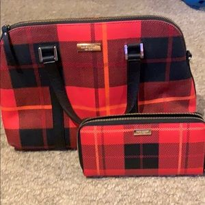 Kate Spade Red and Black Plaid Purse & Wallet